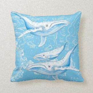 Almofada Vintage da família das baleias azuis