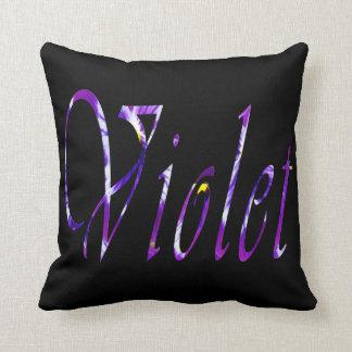 Almofada Violeta, nome das meninas, logotipo, coxim preto