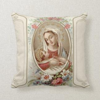 Almofada Virgin Madonna Mary com os rosas de Jesus da