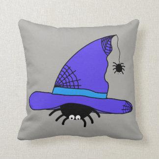 Almofada Web spider roxos do Dia das Bruxas do chapéu da