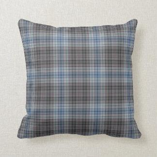 Almofada Xadrez de Tartan azul do branco cinzento
