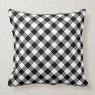 Almofada Xadrez verificada preto e branco diagonal