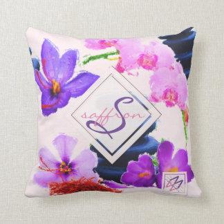 Almofada Zen das flores do açafrão e da orquídea do