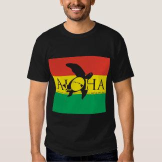 Aloha bandeira da tartaruga da reggae da ilha de camisetas