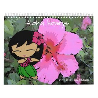 Aloha calendário 2017 floral da menina de Hula dos