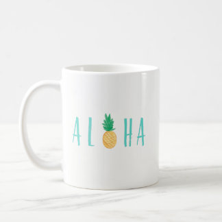 Aloha caneca de café tropical do abacaxi
