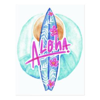 Aloha cartão havaiano do surfista