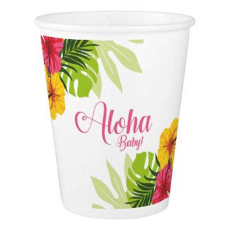 Aloha chá de fraldas, copos de Luau