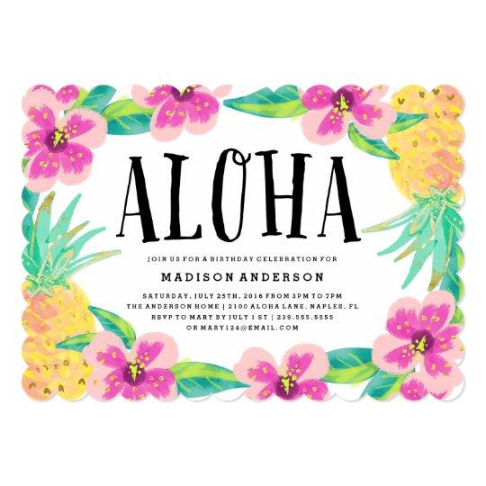 Aloha convite de festas tropical | Zazzle.com.br