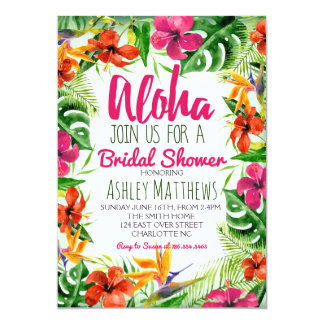 Aloha convite tropical do chá da aguarela