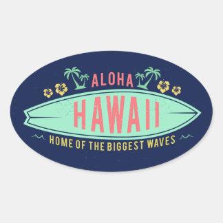 Aloha etiquetas havaianas do surfista