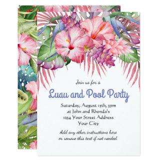 Aloha festa na piscina floral tropical de Luau Convite 12.7 X 17.78cm