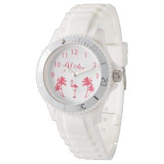 Aloha flamingo tropical e relógio feminino das