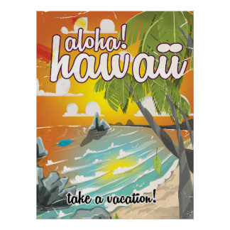 Aloha! Havaí! desenhos animados do poster das Pôster