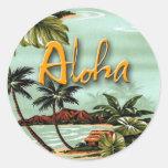 Aloha ilha adesivos em formato redondos