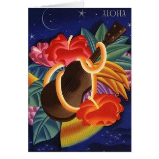 Aloha noite do hibiscus & do Ukulele dos cartões