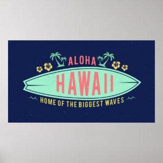 Aloha poster havaiano do surfista