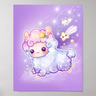 Alpaca bonito do chibi com a estrela de tiro do pôster