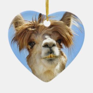 Alpaca com cabelo louco ornamento de cerâmica
