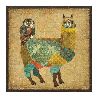 Alpaca do ouro & canvas da coruja da cerceta impressão de canvas envolvida