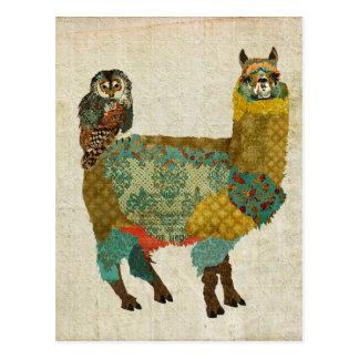 Alpaca do ouro & cartão da coruja da cerceta cartoes postais