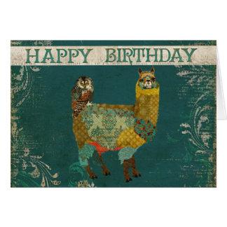 Alpaca do ouro & cartão de aniversário da coruja d