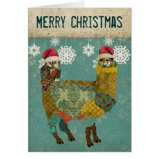 Alpaca do ouro & cartão de Natal da coruja