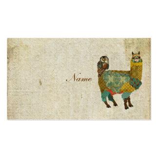 Alpaca do ouro & cartão de visita da coruja da cer