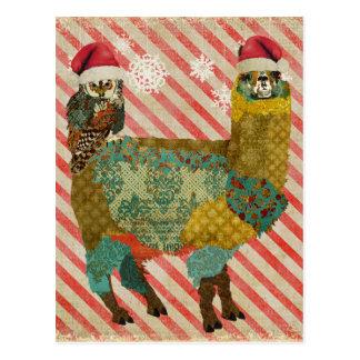 Alpaca do ouro & cartão do Natal da coruja da cerc Cartões Postais