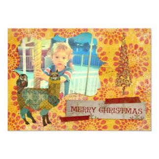 Alpaca do ouro & cartões de foto de Natal da Convite 12.7 X 17.78cm