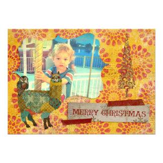 Alpaca do ouro cartões de foto de Natal da coruj Convite