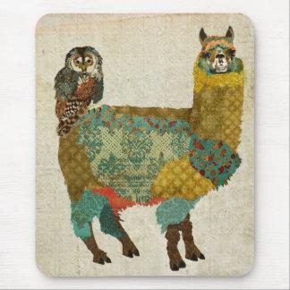 Alpaca do ouro & coruja Mousepad da cerceta