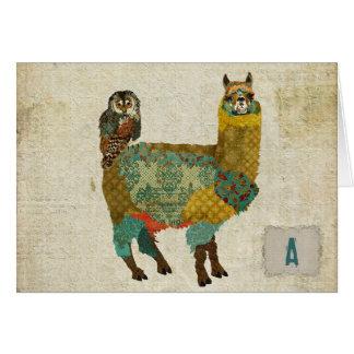 Alpaca do ouro & coruja Notecard da cerceta Cartão De Nota