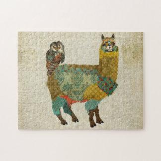 Alpaca do ouro & quebra-cabeça da coruja da