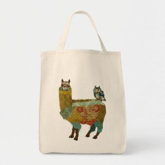 Alpaca do ouro & saco azul da coruja sacola tote de mercado