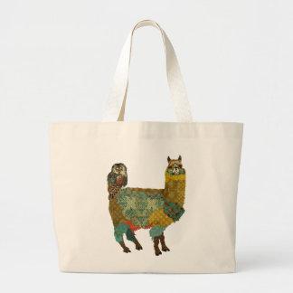 Alpaca do ouro & saco da coruja da cerceta sacola tote jumbo