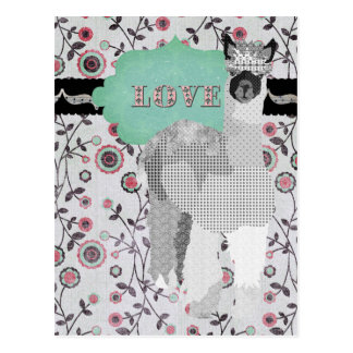 Alpaca Love Floral Postcard
