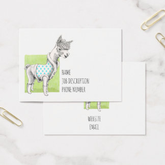 Alpaca no cartão de visita verde