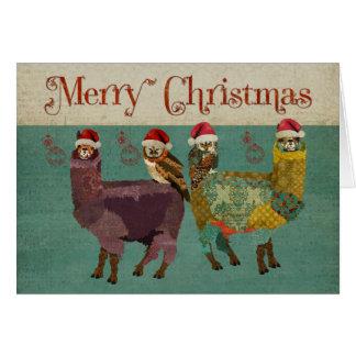 Alpacas & cartão de Natal azul das corujas