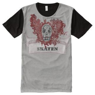 alpargatas -Skater em cinzento preto com caveira Camiseta Com Impressão Frontal Completa