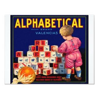 Alphbetical Convite 10.79 X 13.97cm
