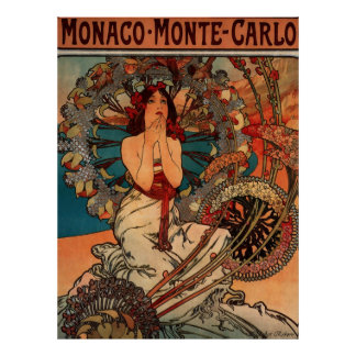 Alphons Mucha Monaco Monte - Carlo Pôster