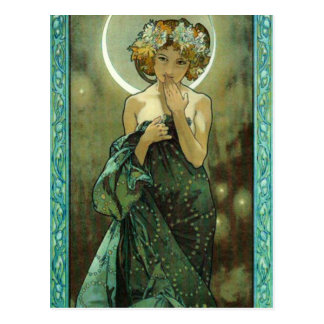 Alphonse Mucha Clair De Lune Cartão Cartão Postal