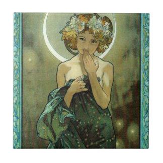 Alphonse Mucha Clair De Lune Telhar Azulejo Quadrado Pequeno