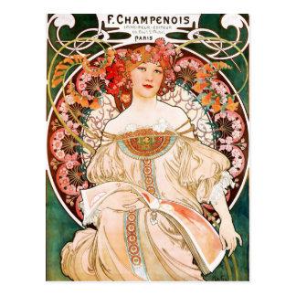 Alphonse Mucha F. Champenois Cartão Cartão Postal