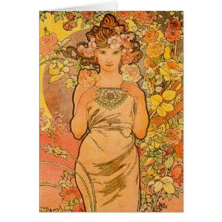 Alphonse Mucha o cartão de nota do rosa