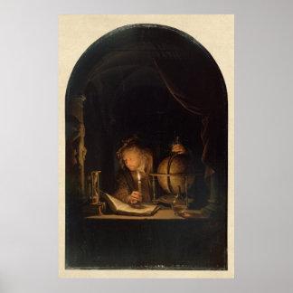 Alquimista do filósofo no laboratório poster
