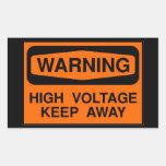 alta tensão de advertência adesivo retângular
