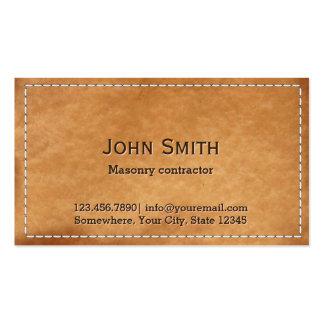 Alvenaria de couro costurada vintage cartão de visita