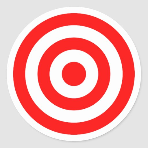Alvo vermelho do Bullseye Adesivos Redondos